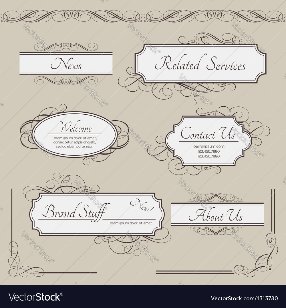 Set of vintage labels frames borders