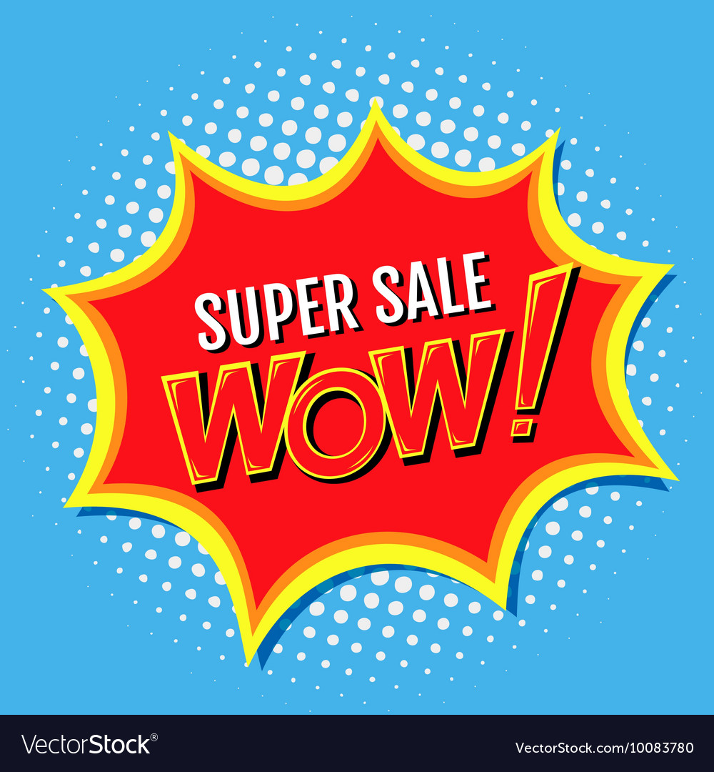 Super sale a banner in style of comics popart