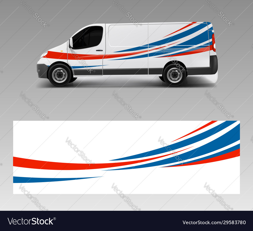 Vehicle decal wrap design cargo van graphic