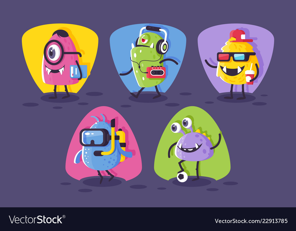Collection student footballer diver monsters