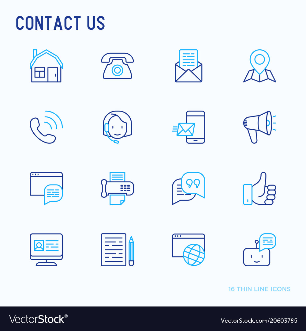 Contact us thin line icons set