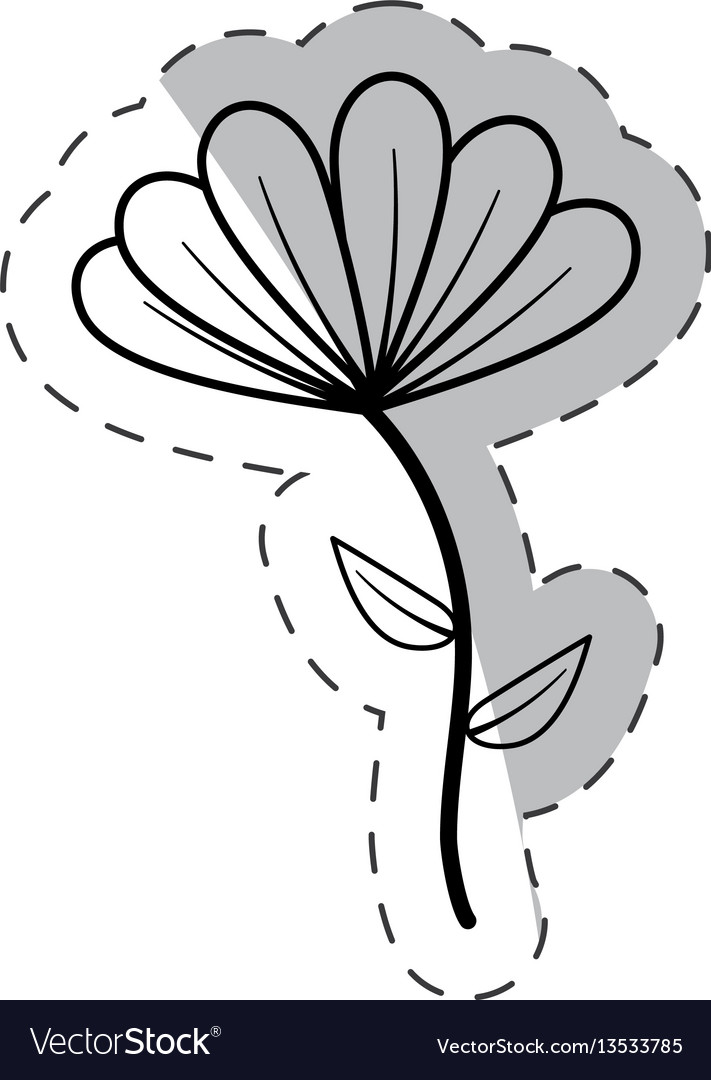 Cute flower bloom cut line vector image