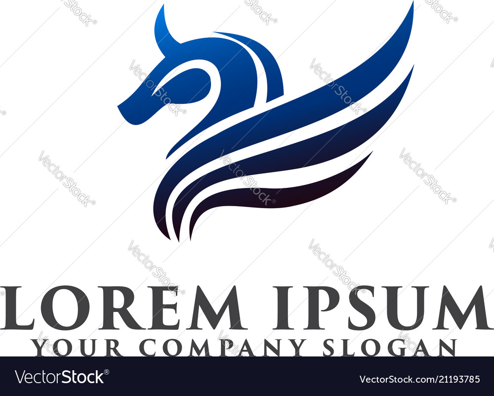Horse wing logo luxury design concept template