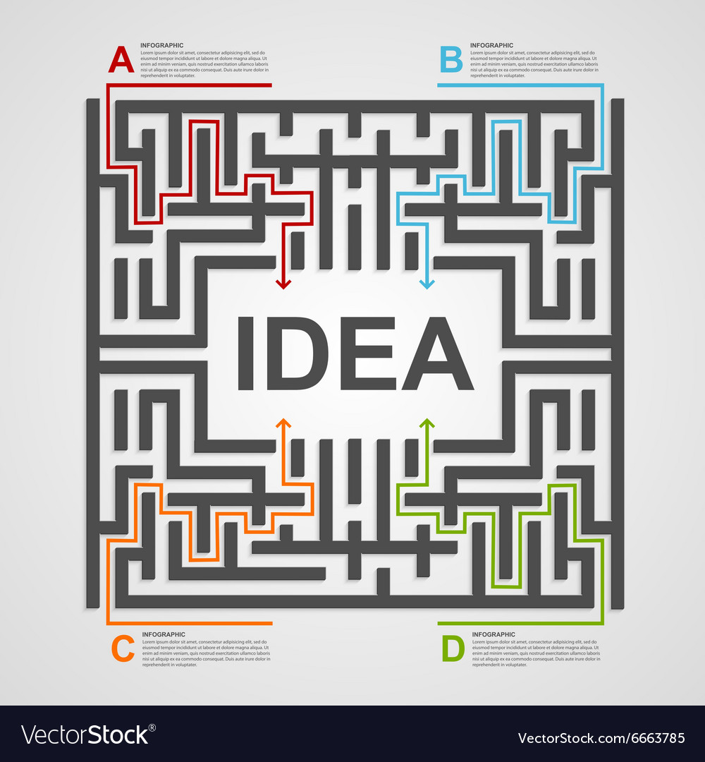Labyrinth infographic concept Design template Vector Image