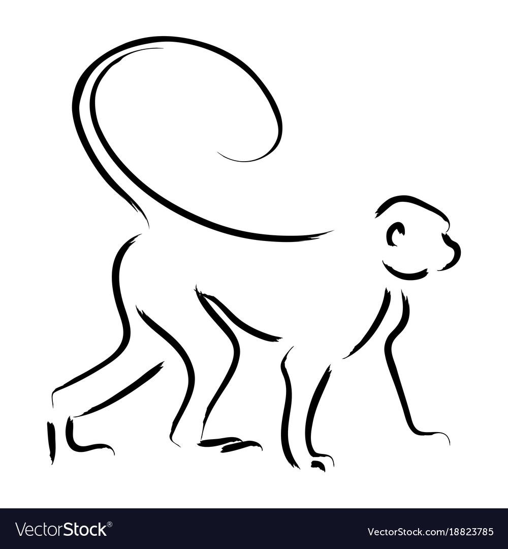 Line art of a monkey