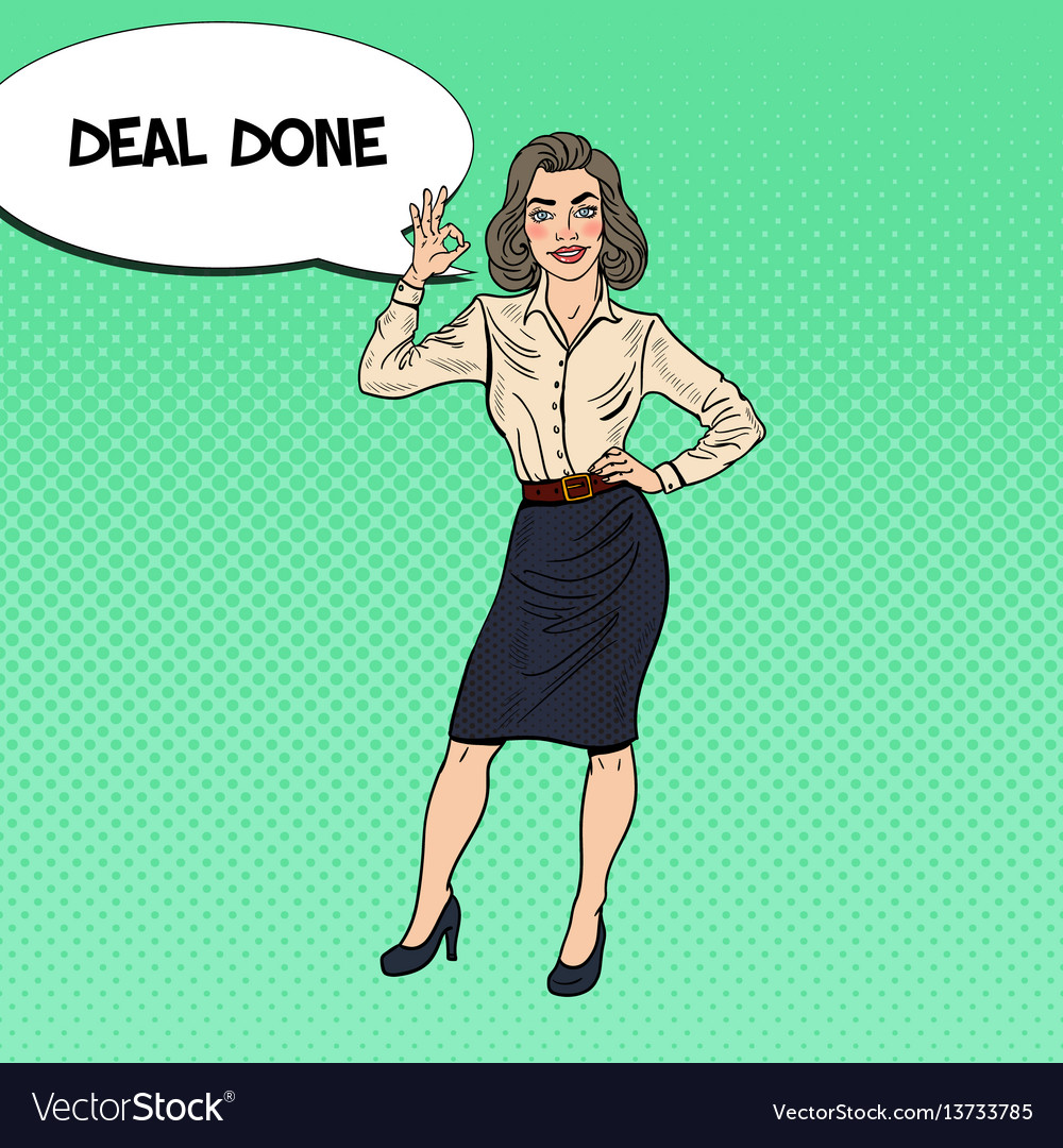 Pop art happy business woman gesturing ok