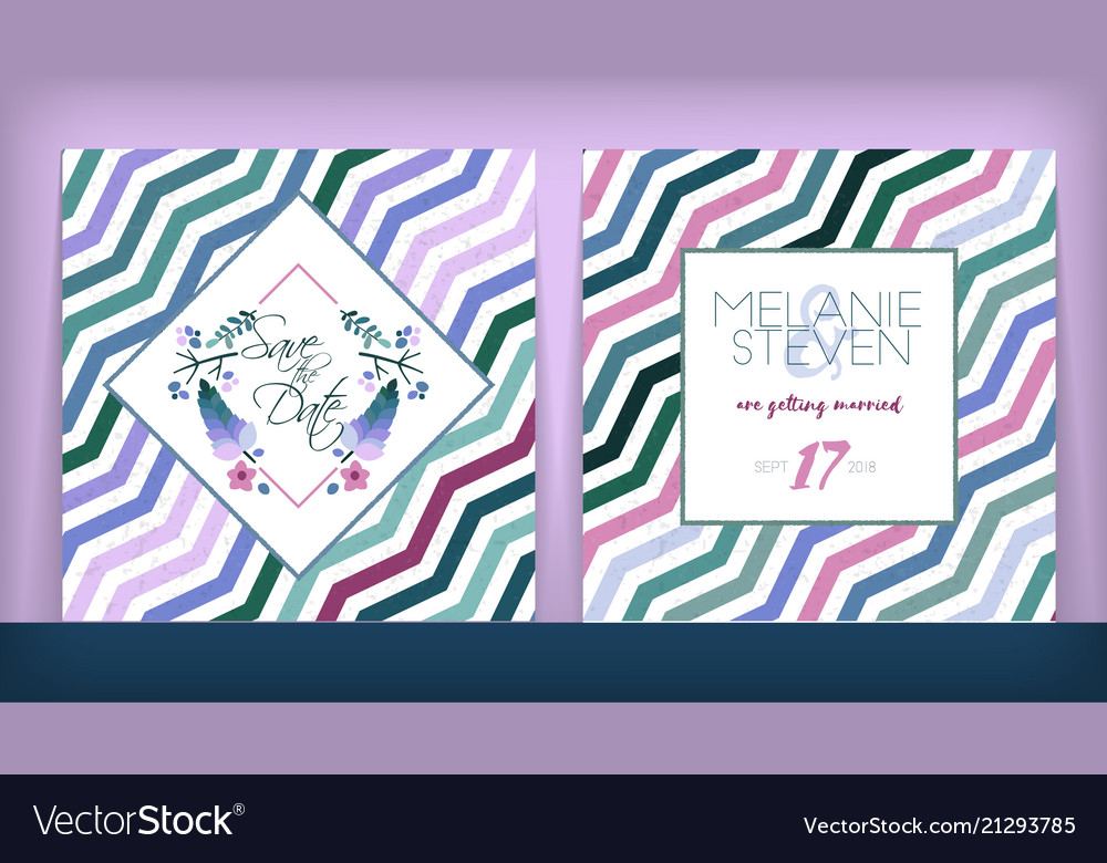 Save The Date Wedding Invitation Double Sided Vector Image