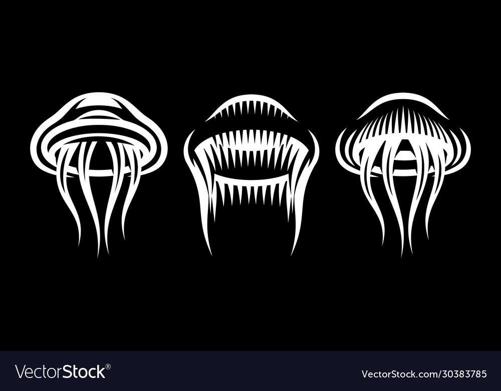 Set three stylish marine jellyfish on black