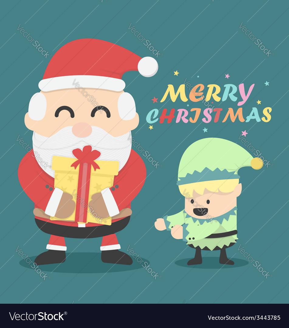 Vintage Christmas card Santa claus and Christmas