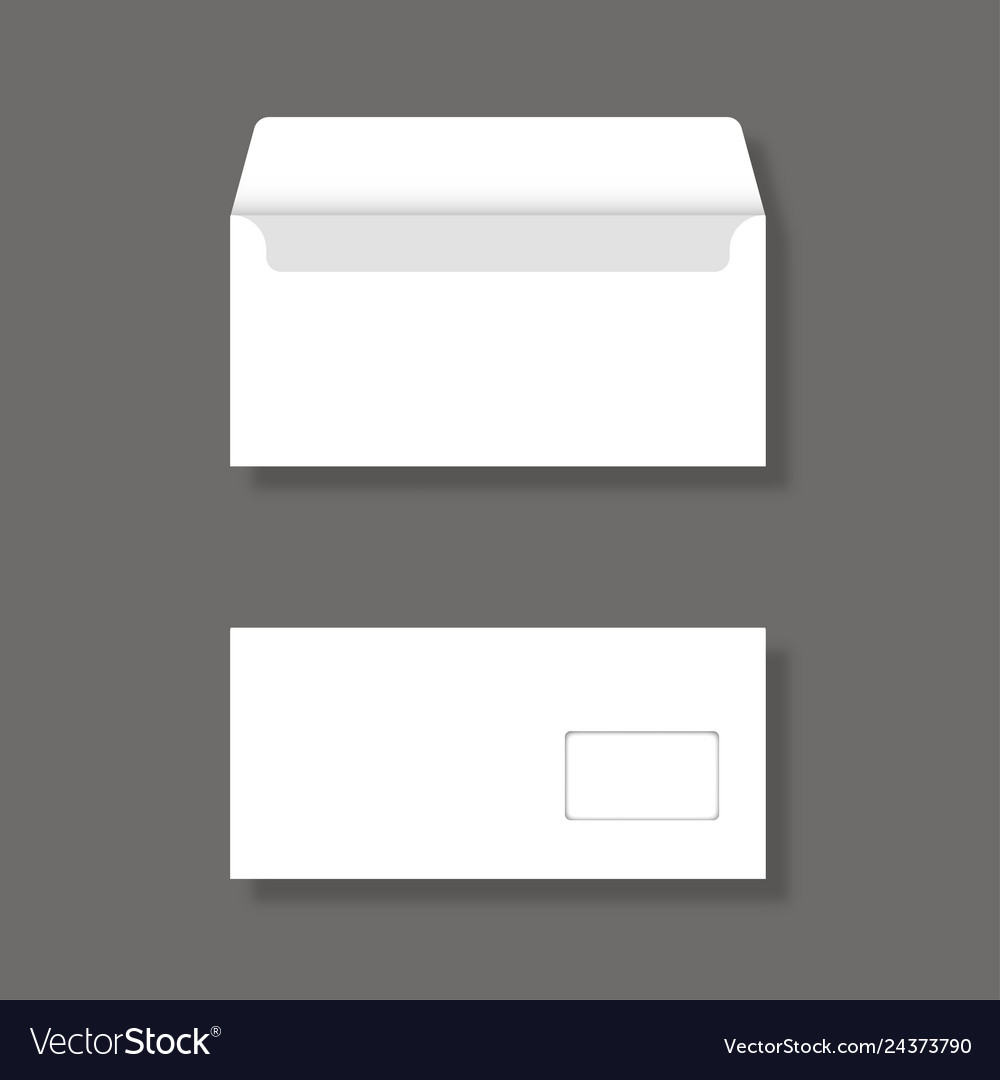 Blank envelope with window front and back view