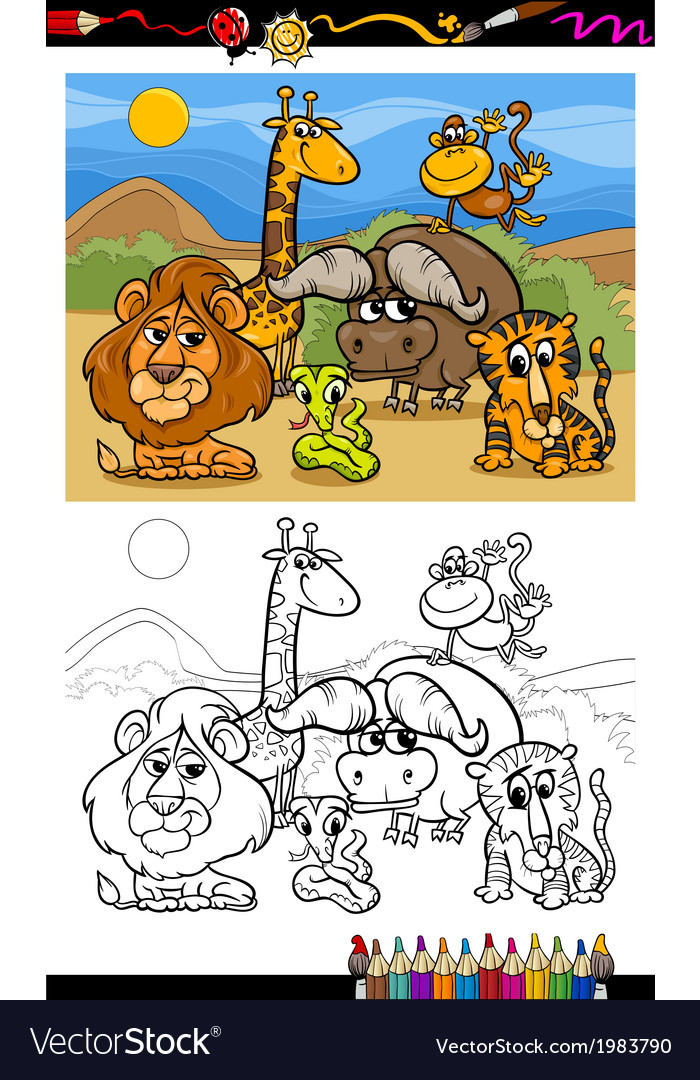 Cartoon Wild Animals Coloring Page Royalty Free Vector Image