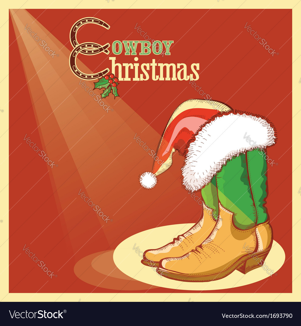 Cowboy christmas card with american shoes vector image