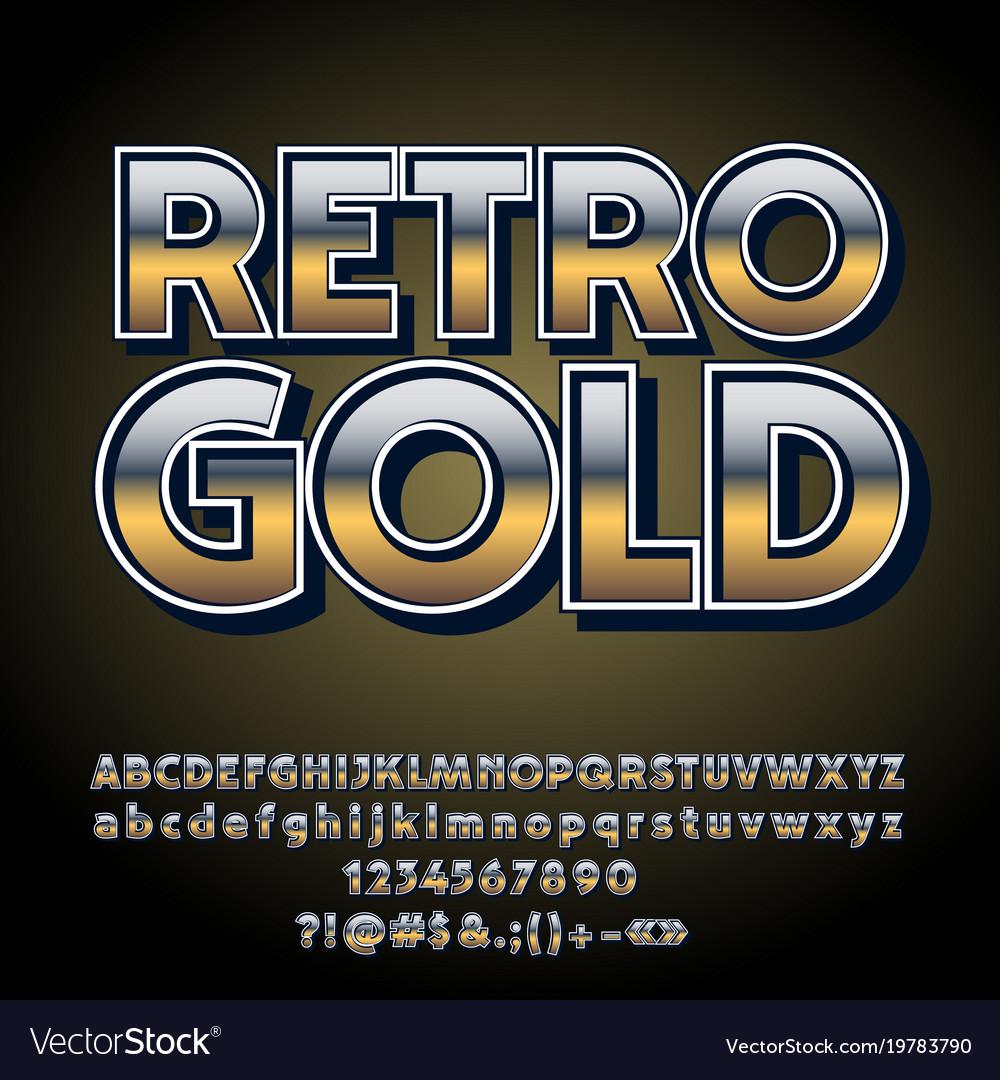 Gradient retro styled gold alphabet