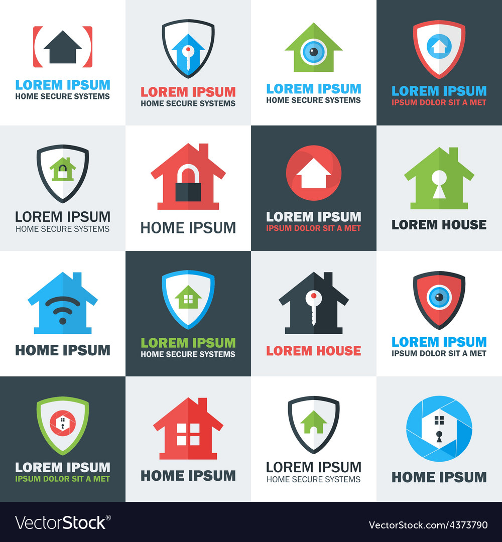 Home Security Logos Set Royalty Free Vector Image