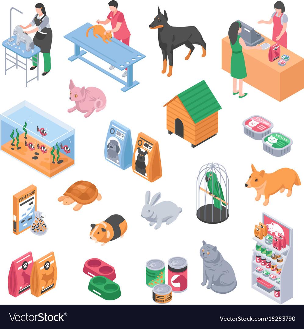 Pet shop veterinary grooming icon set