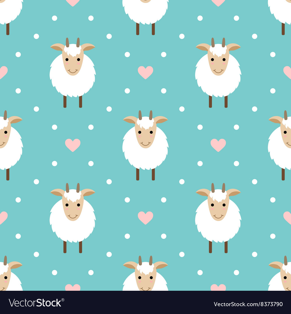 Polka dots seamless pattern with cute goat