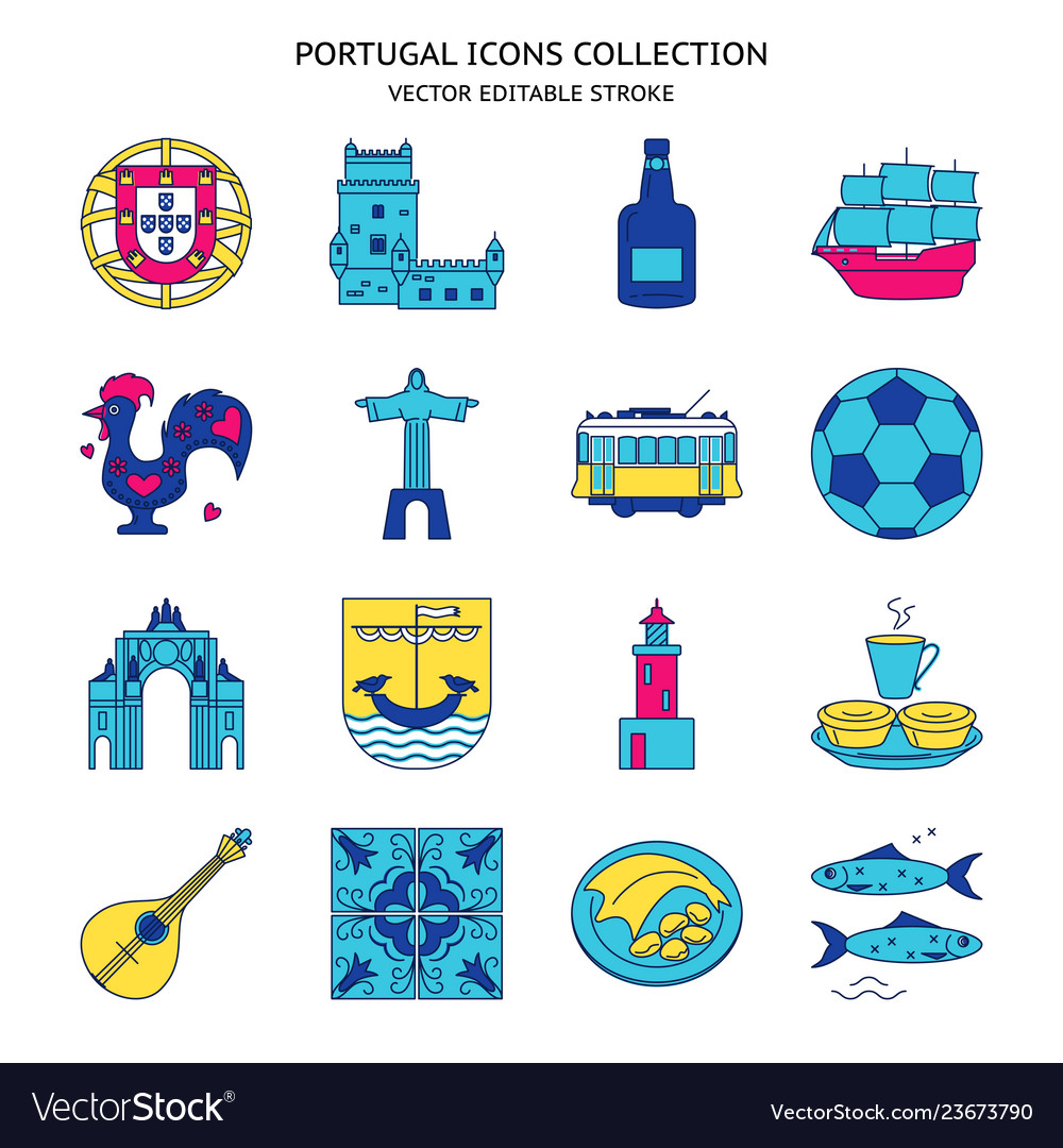Portugal icons set in colored line style