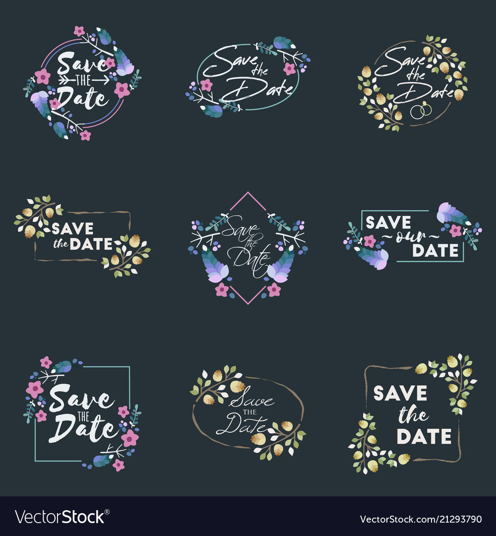 Save the date wedding invitation floral elements