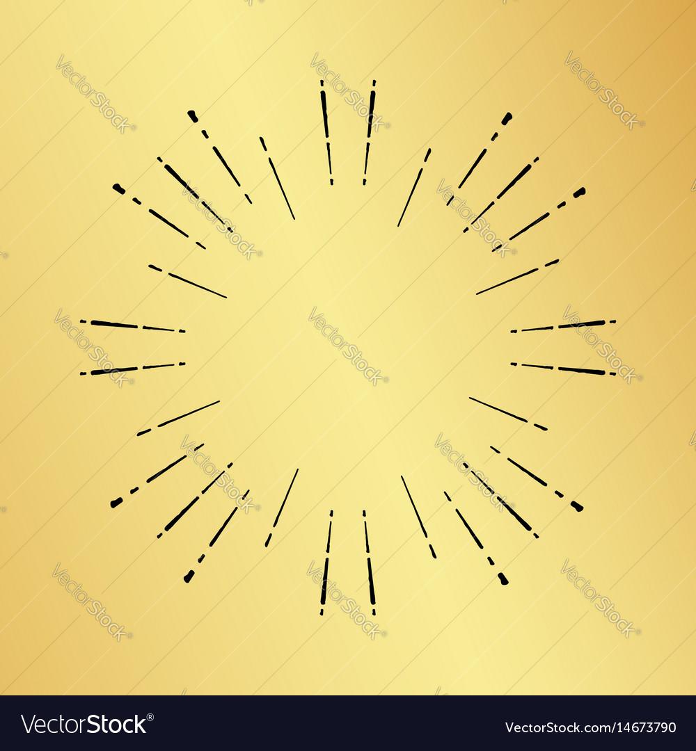 Sun burst vintage hand drawn hipster gold logo