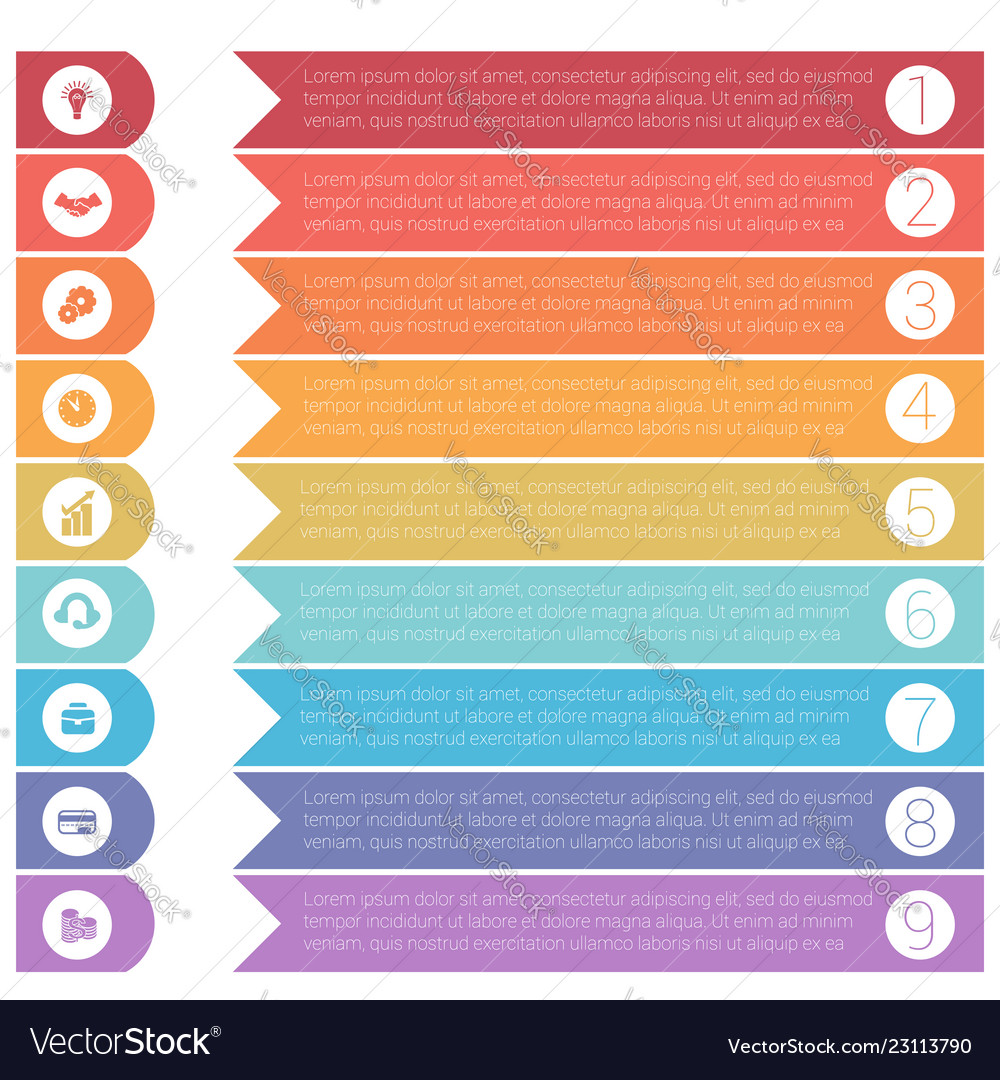 Template infographics from colorful hrizontal