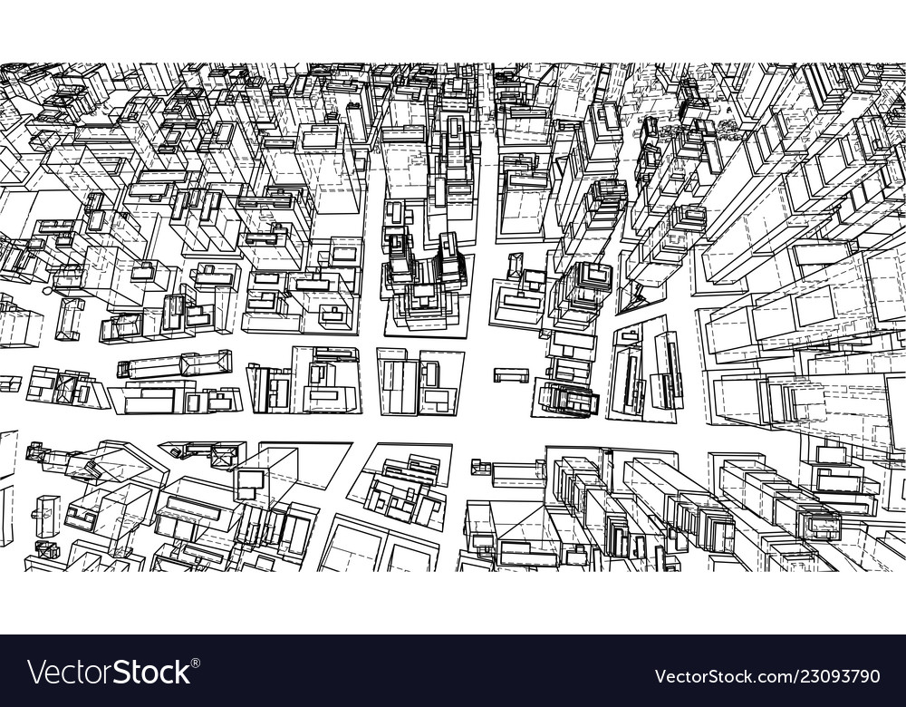 Wire-frame twisted city blueprint style vector image on VectorStock