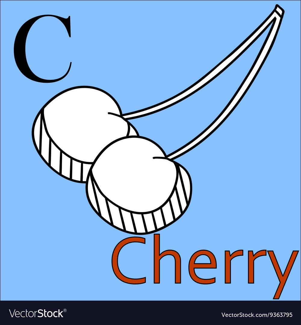 C letter alphabet Coloring book cherry