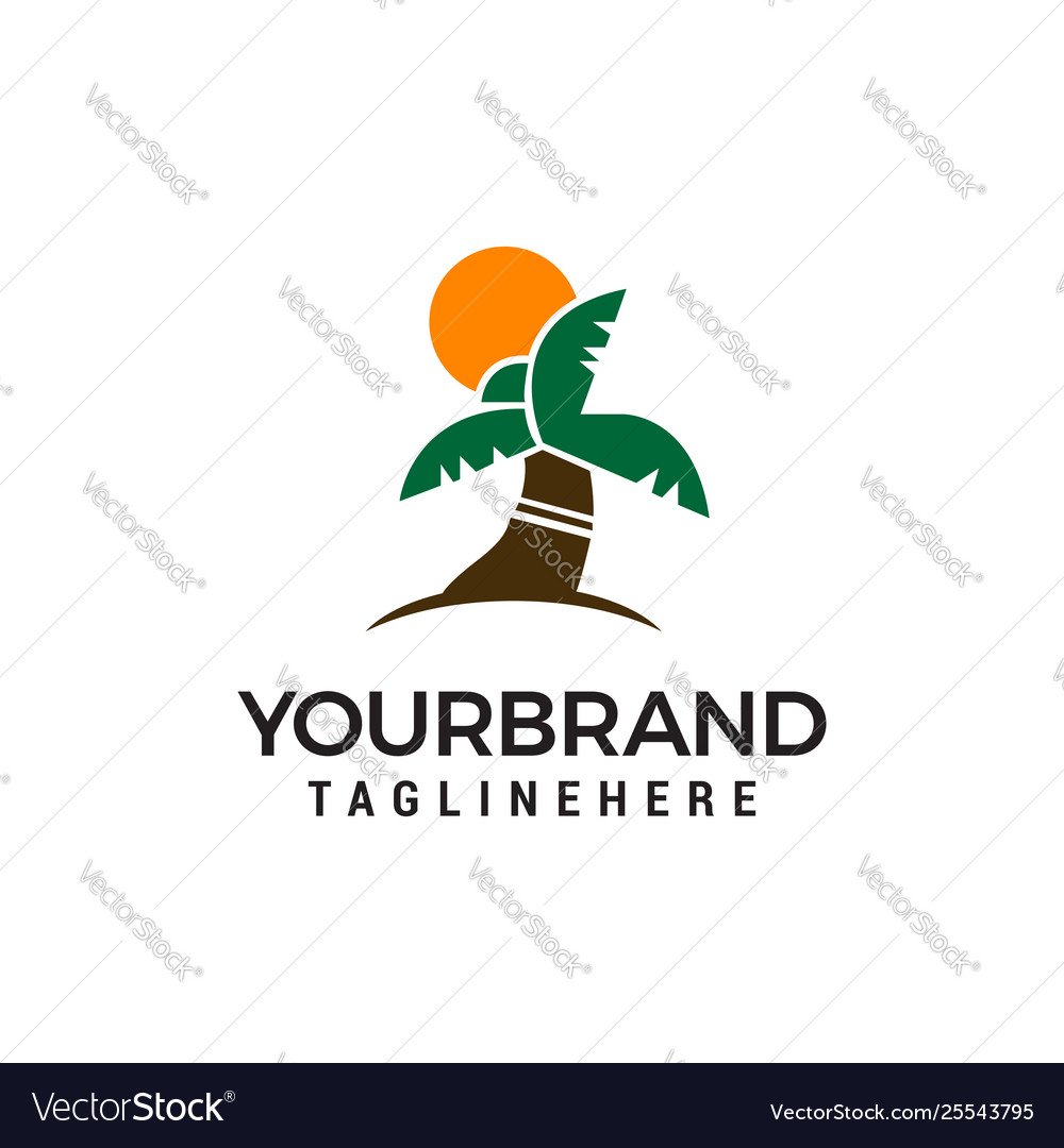 Coconut tree logo design concept template