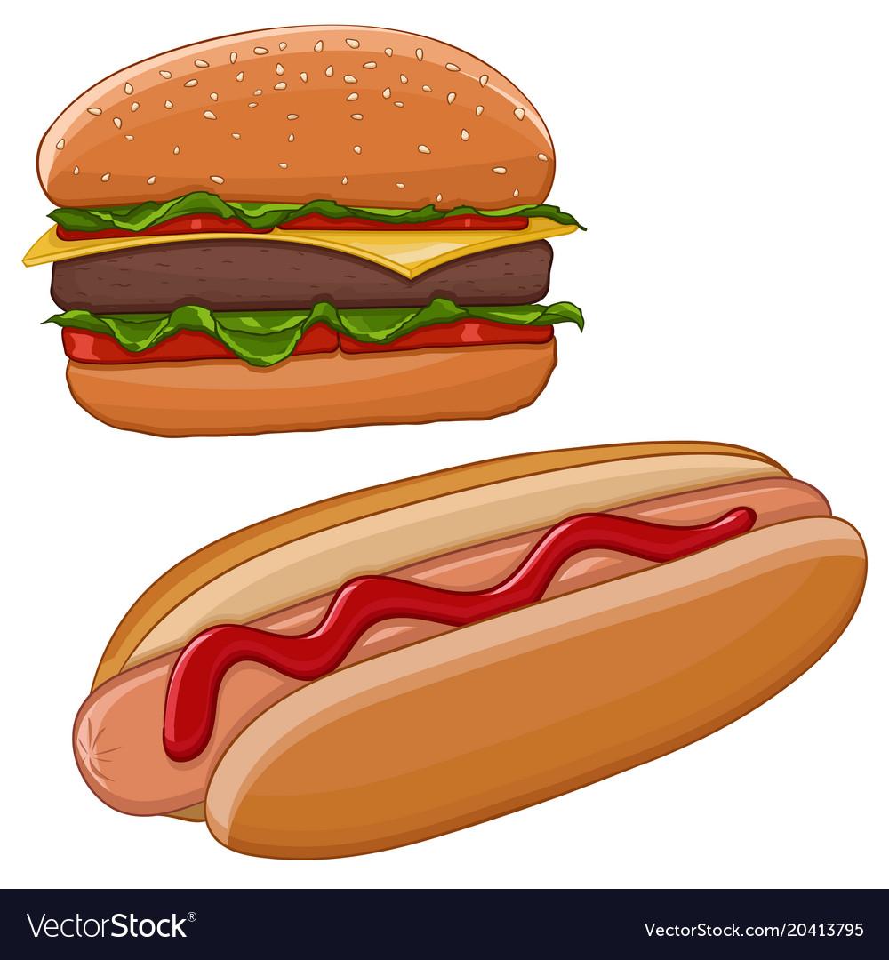 Hamburger and hot dog fast food Royalty Free Vector Image