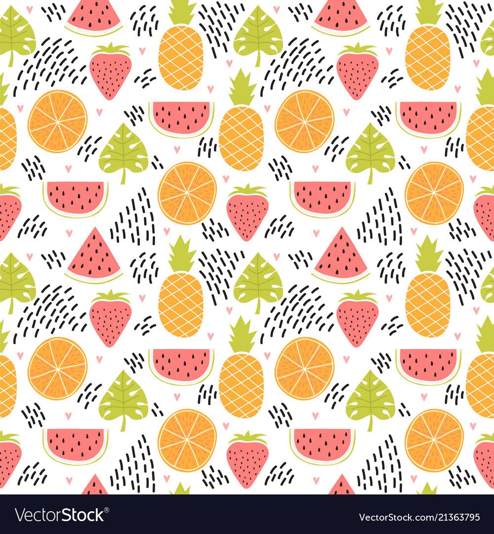 Hand drawn colorful seamless pattern