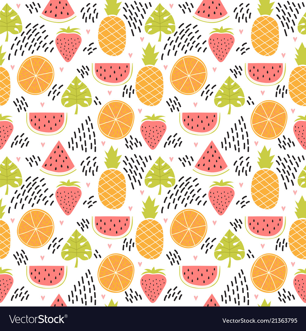 Hand drawn colorful seamless pattern with