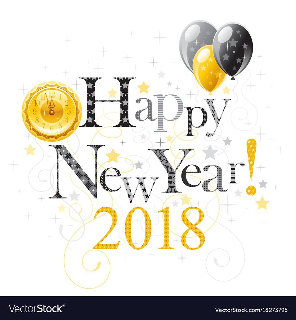 Happy new year 2018 logo border poster Royalty Free Vector