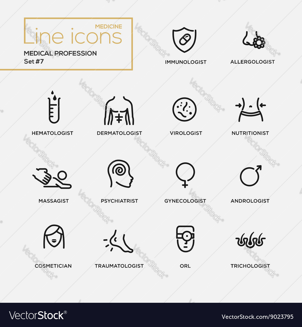Medical profession simple thin line design icons