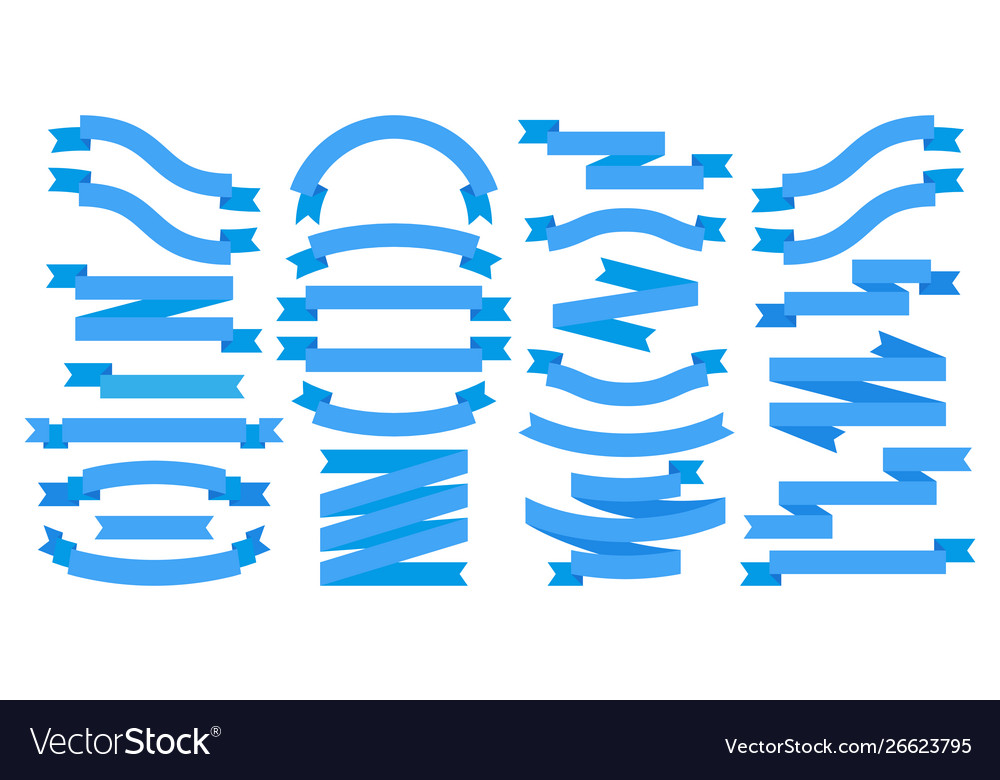 Ribbons blue flat banners isolated on white