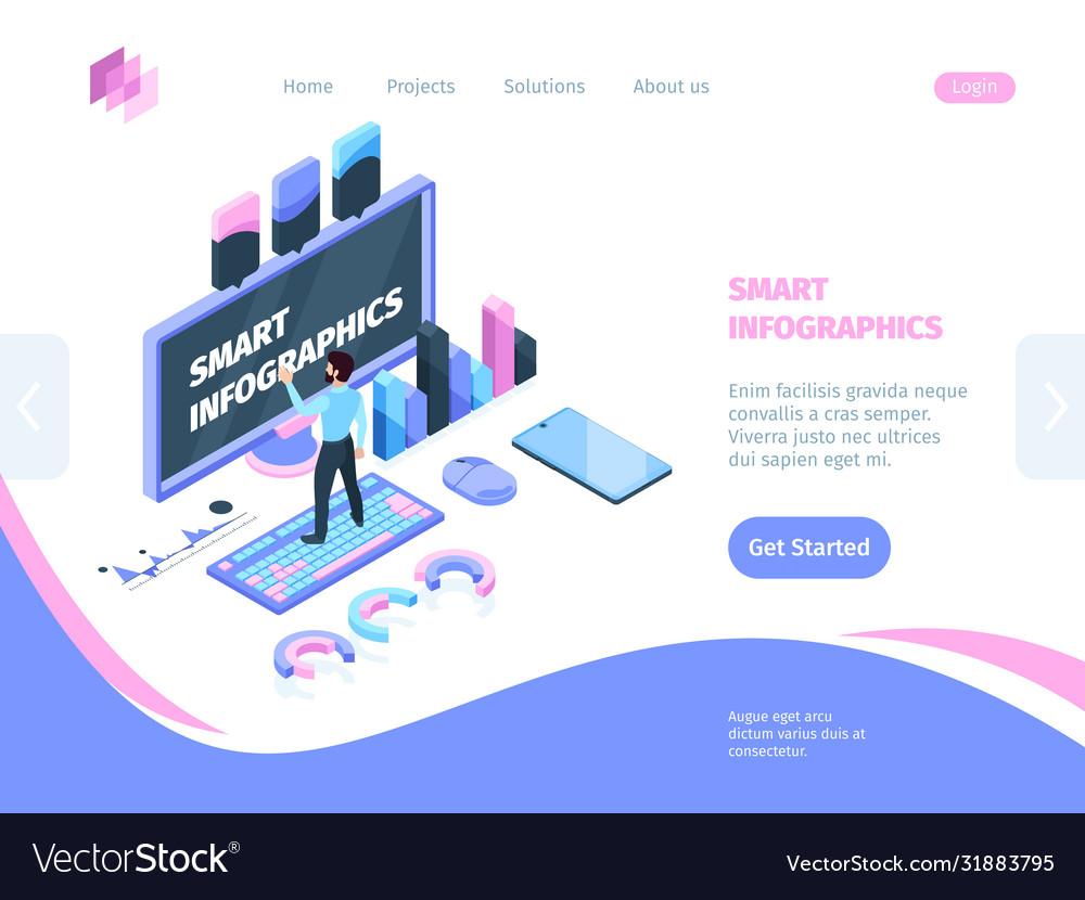 Smart site infographic isometric concept