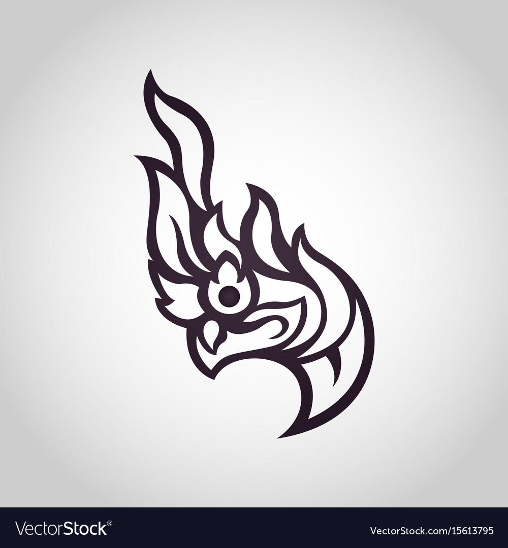Snake logo in traditional thai art naga thai vector image