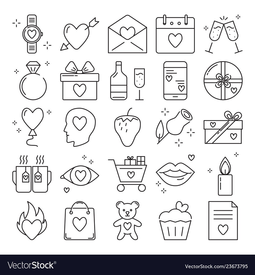 Valentines day icon set in line style