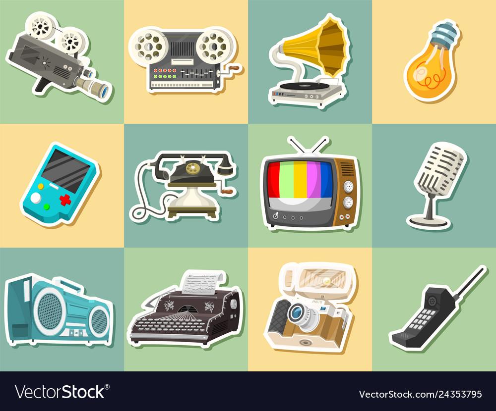 Vintage devices icons retro tech media
