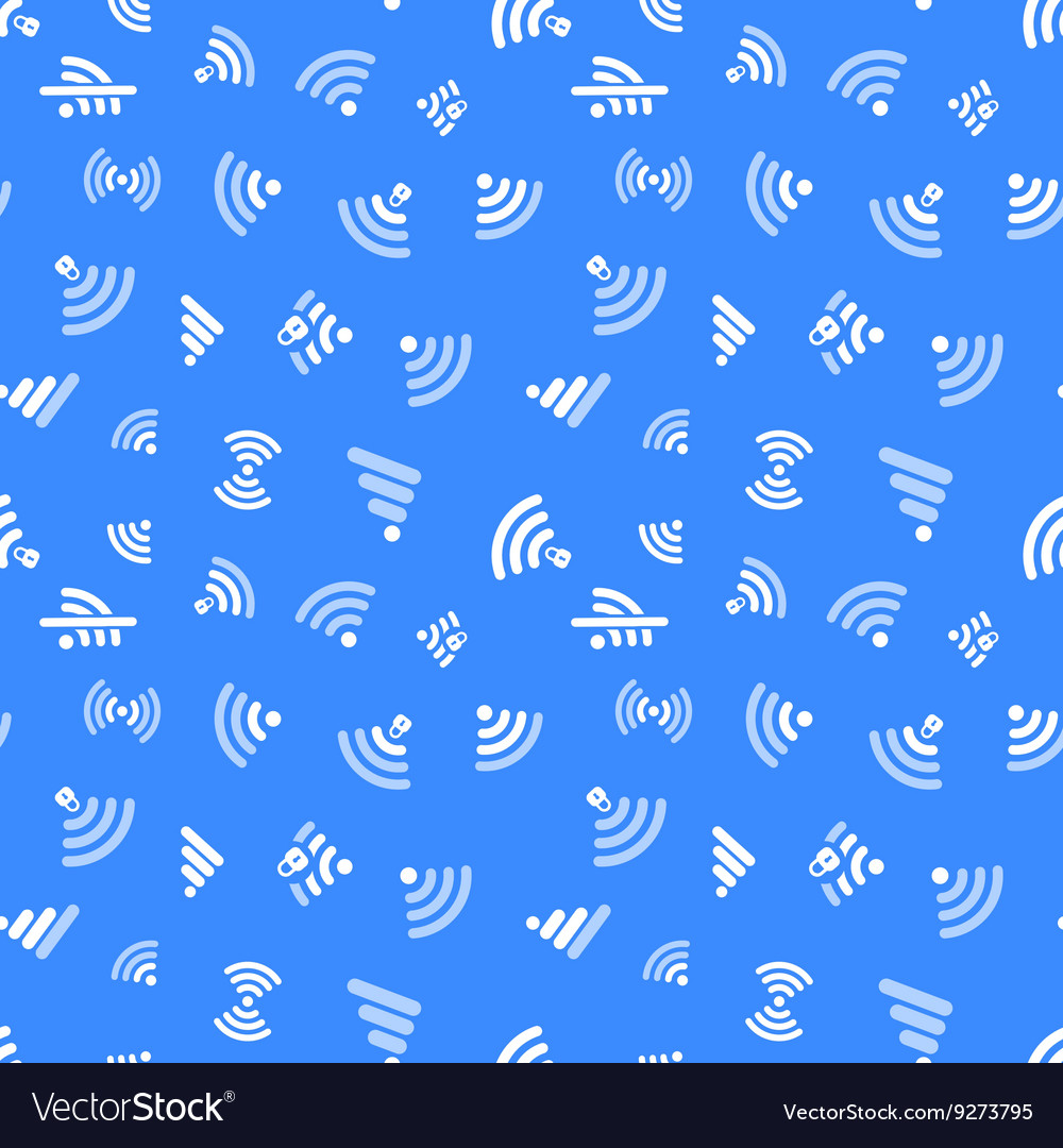 White WiFi icons on blue seamless pattern