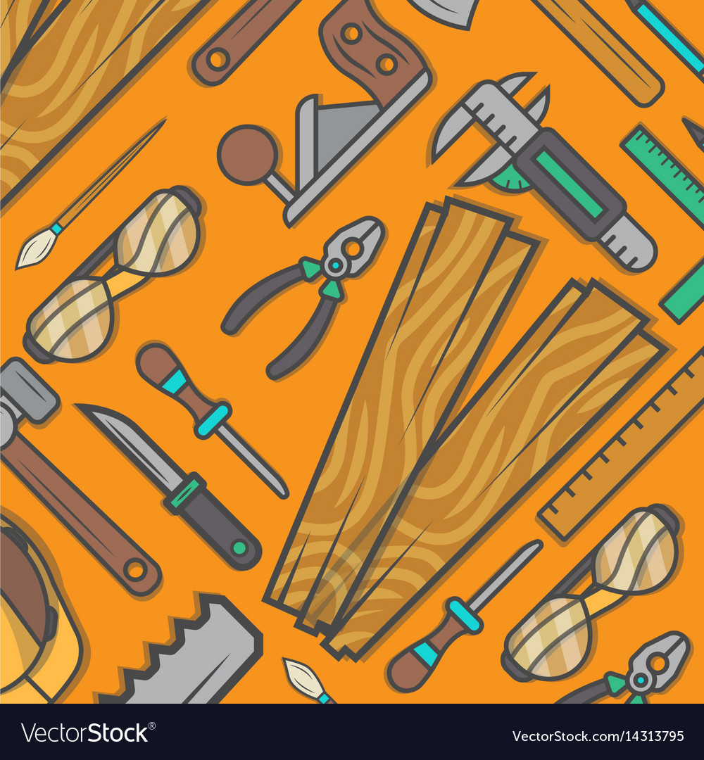 Woodworking Tool Set Background Royalty Free Vector Image
