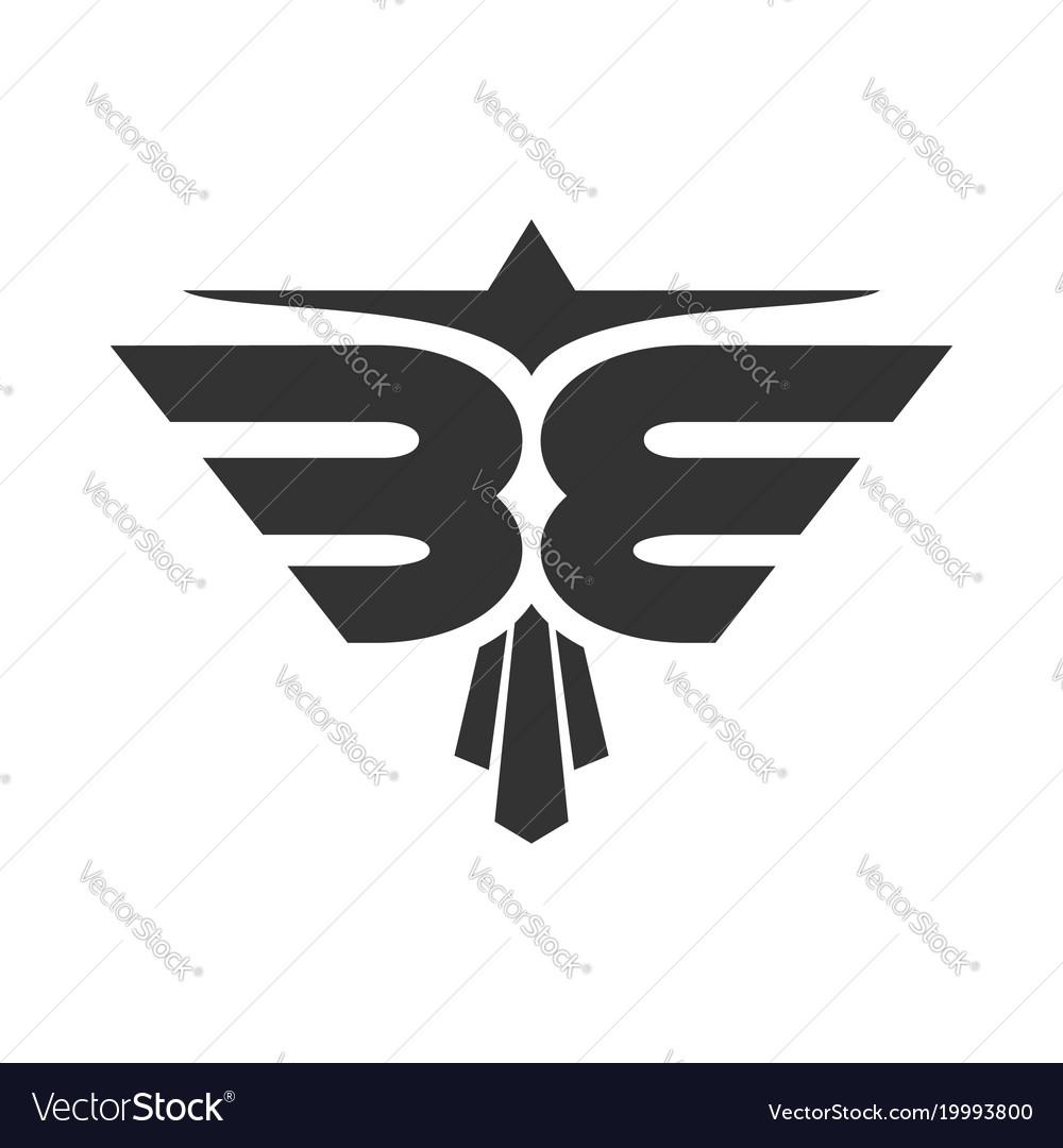 Abstract eagle be initials symbol design