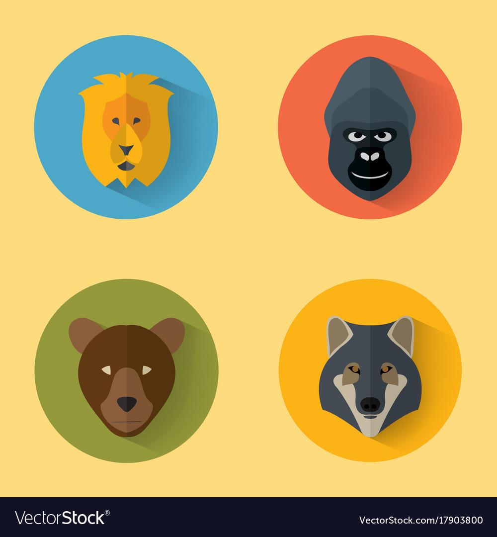 Animal portraits with flat design