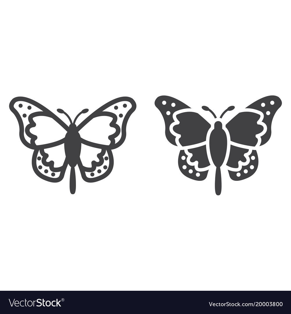 Butterfly line and glyph icon easter and holiday