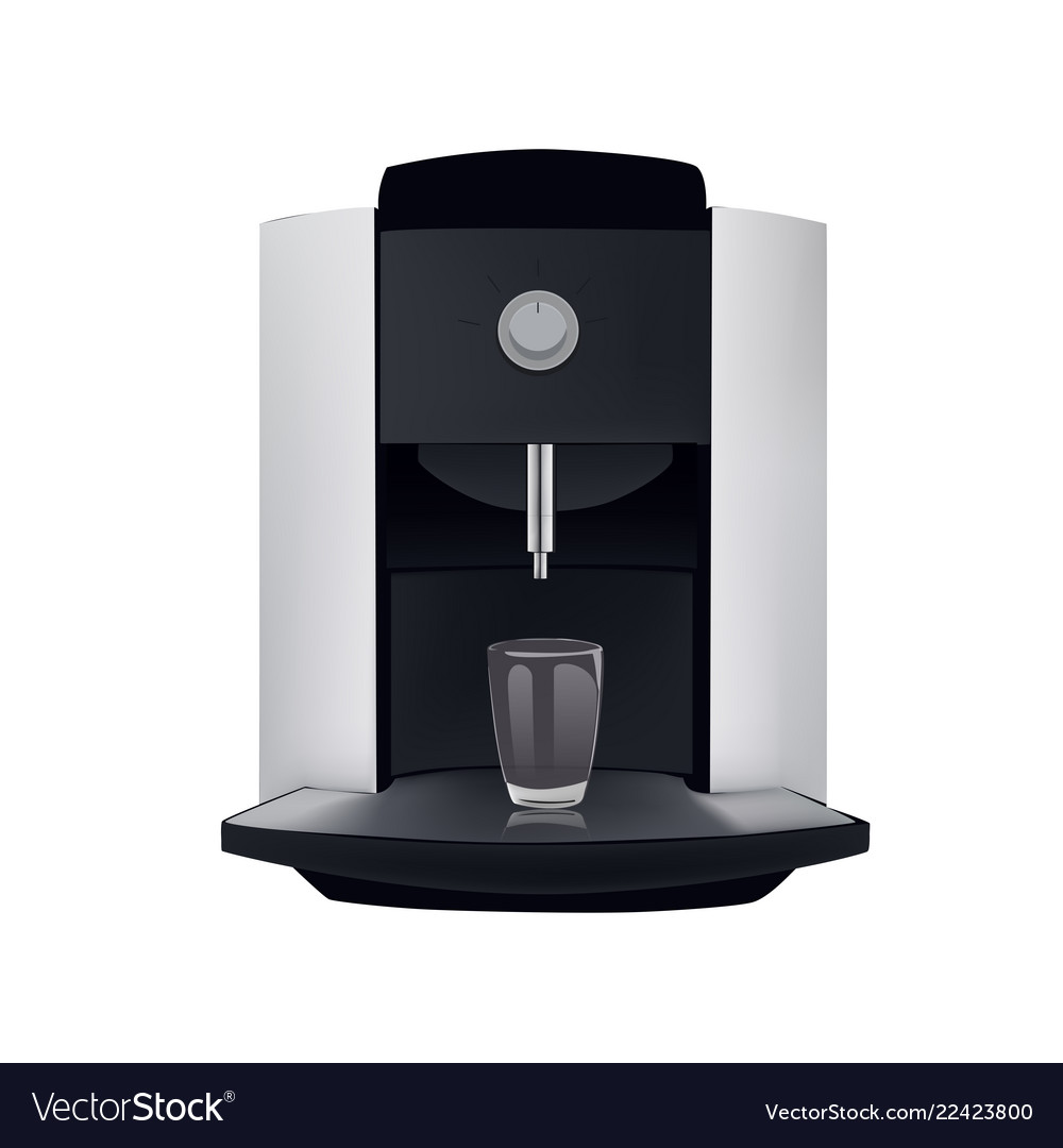 Coffee machine and glass isolated on white