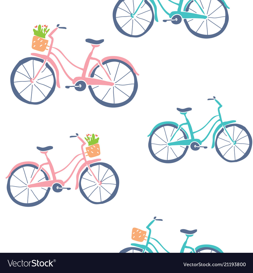 Cute hand drawn bicycles seamless pattern