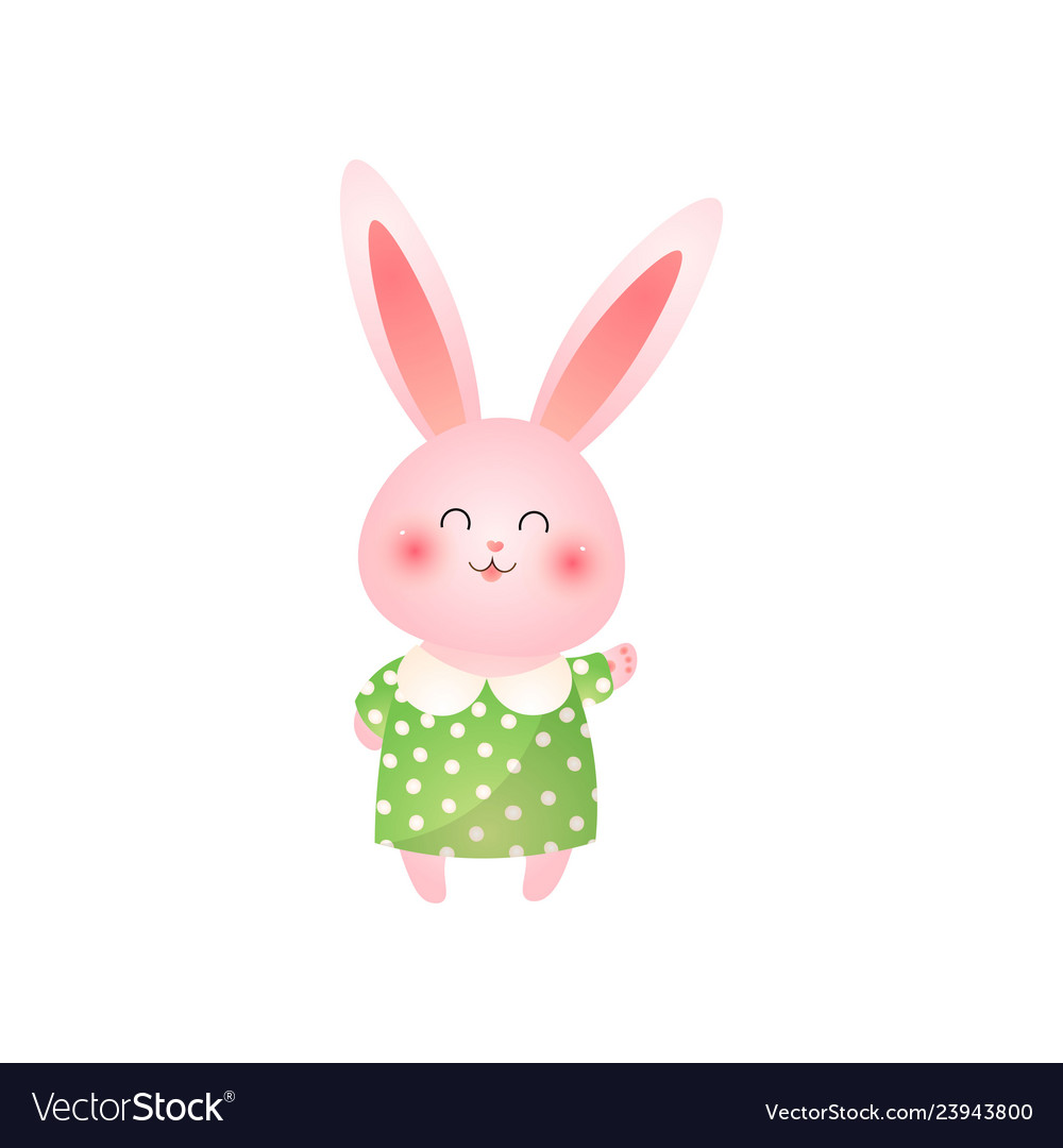 Cute pink easter bunny waving hand isolated on