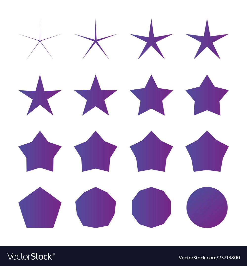 Different radius five point star set isolated on