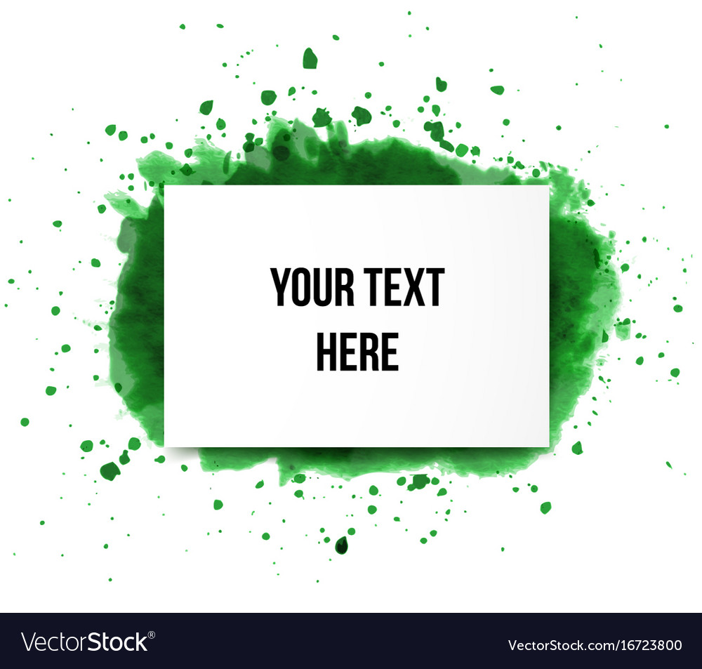Green grunge splash and realistic paper background