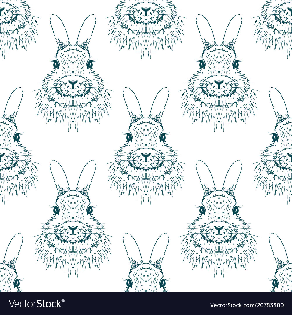 Rabbit sketch seamless pattern hand drawn