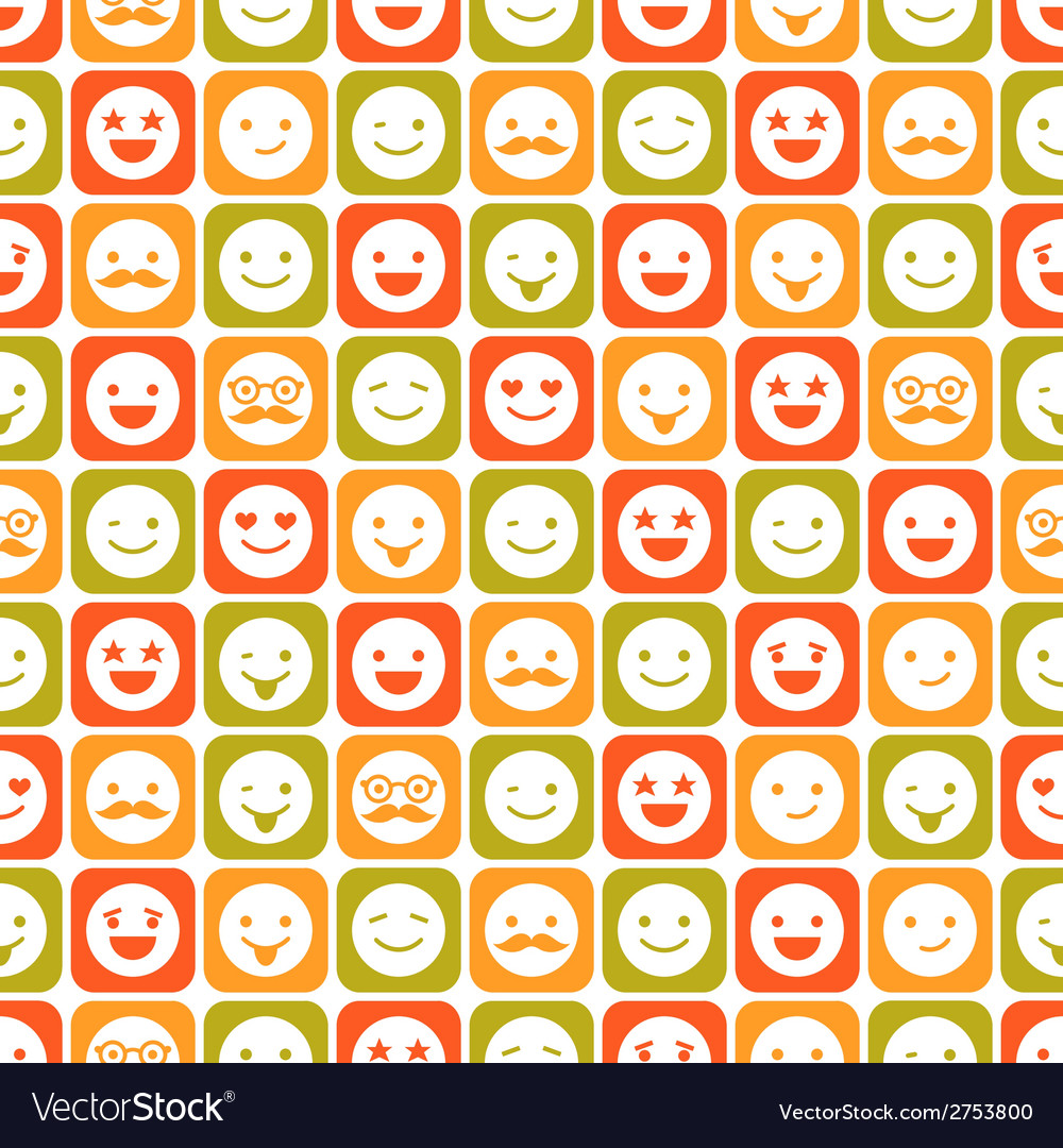 Seamless pattern color smile different emotions