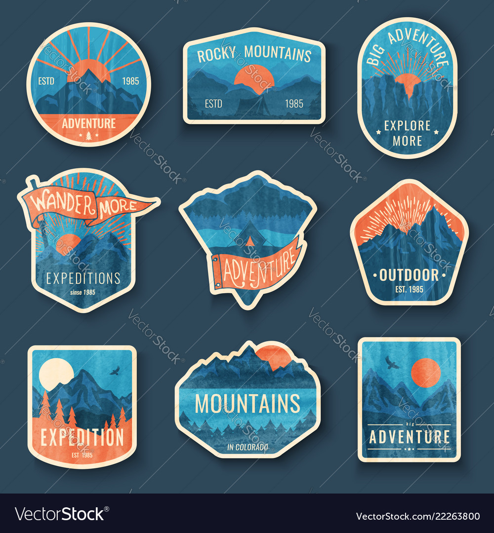 Set nine mountain travel emblems with grunge vector